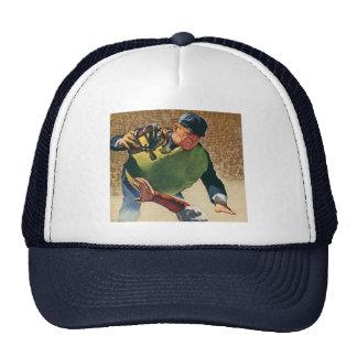 El vintage se divierte al jugador de béisbol, gorros bordados