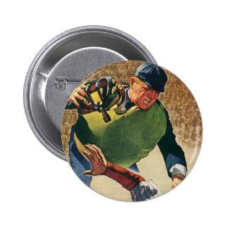 El vintage se divierte al jugador de béisbol, chapa redonda 5 cm