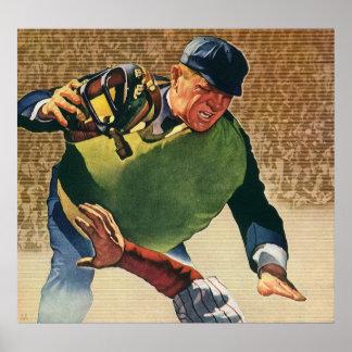 El vintage se divierte al jugador de béisbol, póster