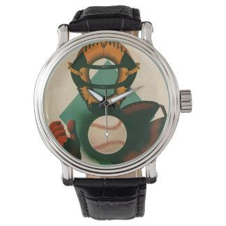 El vintage se divierte al jugador de béisbol, reloj