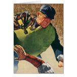 El vintage se divierte al jugador de béisbol, tarjeton