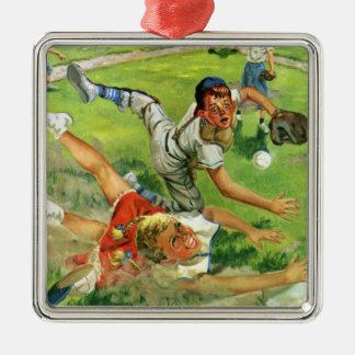 El vintage se divierte el béisbol, el jugar de los adorno navideño cuadrado de metal