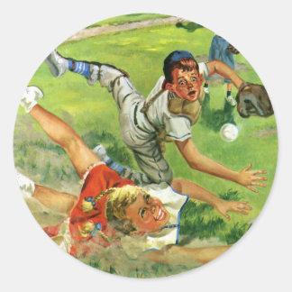 El vintage se divierte el béisbol, el jugar de los pegatina redonda