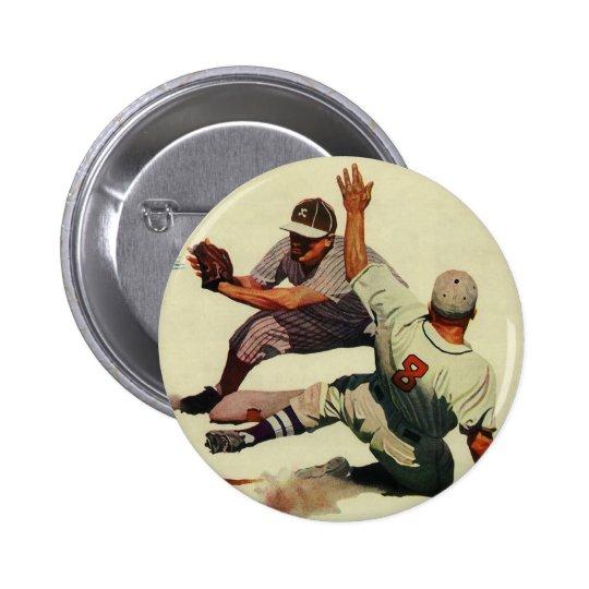 El vintage se divierte el béisbol, jugador que pin redondo de 2 pulgadas
