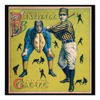 """El vintage se divierte el béisbol, partido en casa invitación 5.25"""" x 5.25"""""""