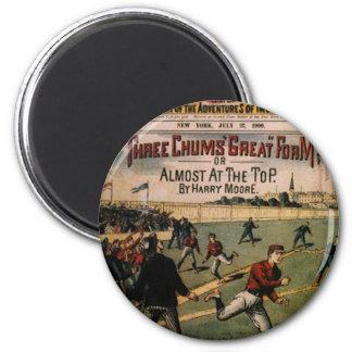 El vintage se divierte el béisbol, revista de tres imán redondo 5 cm