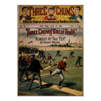El vintage se divierte el béisbol, revista de tres póster