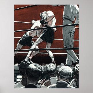 El vintage se divierte el boxeo, boxeadores en el póster