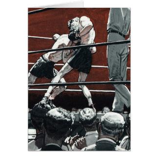 El vintage se divierte el boxeo, boxeadores en el tarjeta de felicitación