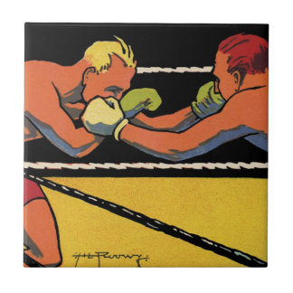 El vintage se divierte el boxeo, boxeadores que azulejo cuadrado pequeño