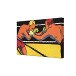 El vintage se divierte el boxeo, el luchar de los impresiones en lienzo estiradas