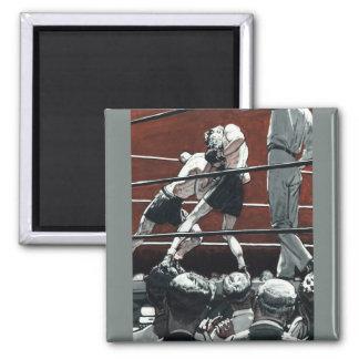 El vintage se divierte el boxeo, lucha de los imán cuadrado