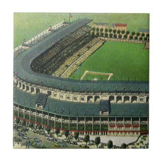 El vintage se divierte el estadio de béisbol, azulejo cuadrado pequeño