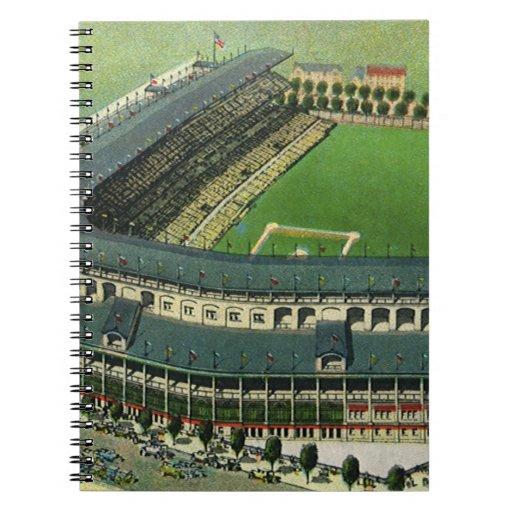 El vintage se divierte el estadio de béisbol, cuaderno