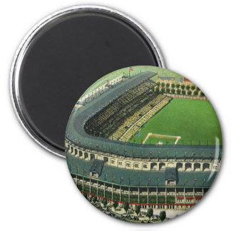 El vintage se divierte el estadio de béisbol, imán redondo 5 cm