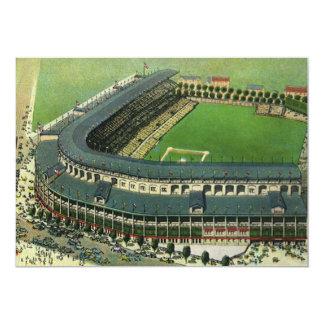 """El vintage se divierte el estadio de béisbol, invitación 5"""" x 7"""""""