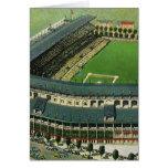 El vintage se divierte el estadio de béisbol, tarjeta de felicitación