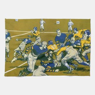 El vintage se divierte el partido de fútbol azul toalla de mano
