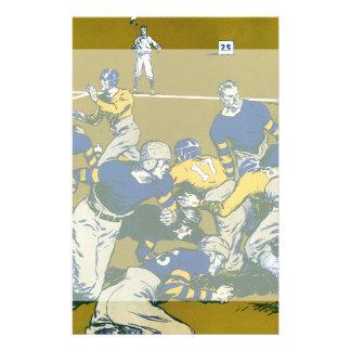 El vintage se divierte el partido de fútbol azul papelería de diseño