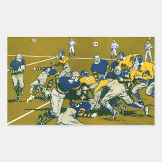 El vintage se divierte el partido de fútbol, azul pegatina rectangular