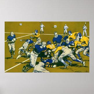 El vintage se divierte el partido de fútbol, azul póster