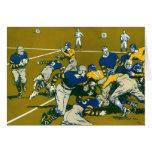 El vintage se divierte el partido de fútbol, azul  tarjetón