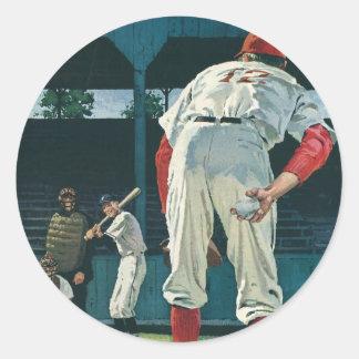 El vintage se divierte la jarra de los jugadores pegatina redonda