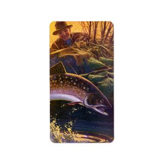 El vintage se divierte la pesca de la trucha; Capt Etiqueta De Dirección