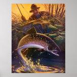 El vintage se divierte la pesca de la trucha; Capt Impresiones