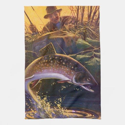 El vintage se divierte la pesca de la trucha; Capt Toalla De Mano