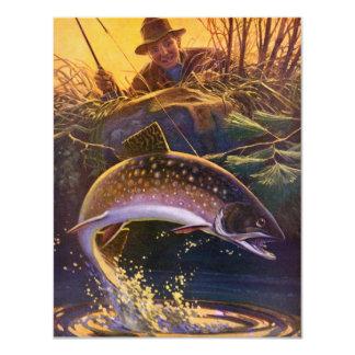 El vintage se divierte la pesca de la trucha; comunicados personalizados
