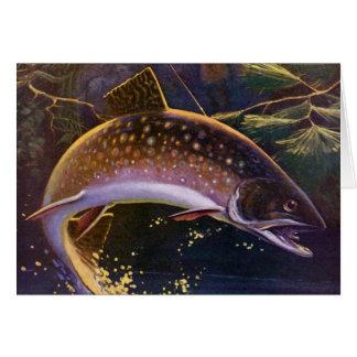El vintage se divierte la pesca de la trucha; felicitacion