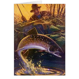 El vintage se divierte la pesca de la trucha; felicitaciones