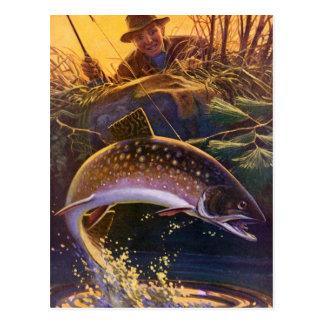 El vintage se divierte la pesca de los pescados de tarjeta postal