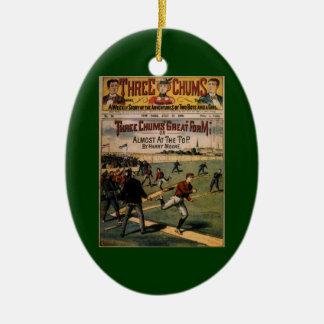 El vintage se divierte la portada de revista de adorno navideño ovalado de cerámica