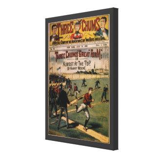 El vintage se divierte la portada de revista de impresión en lienzo