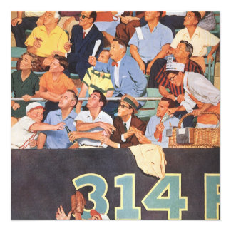 """El vintage se divierte los aficionados al béisbol invitación 5.25"""" x 5.25"""""""