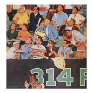 El vintage se divierte los aficionados al béisbol póster