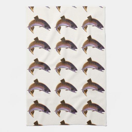 El vintage se divierte salmones de la pesca de los toallas de mano