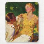 El vintage se divierte tenis, amor y romance alfombrillas de ratones