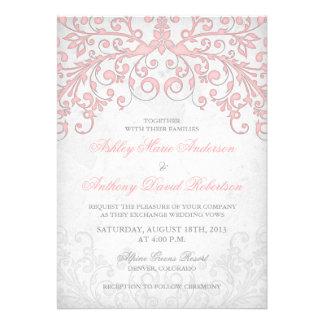 El vintage se ruboriza invitación floral gris rosa