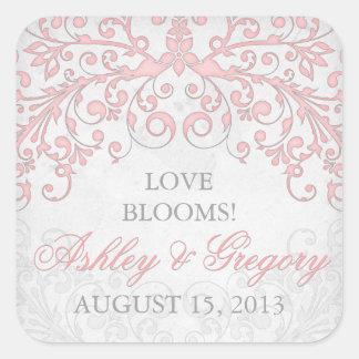 El vintage se ruboriza sello floral gris rosado pegatina cuadrada