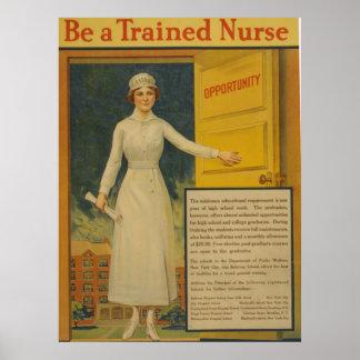 El vintage sea enfermera entrenada posters