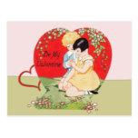 El vintage sea mi tarjeta del día de San Valentín Tarjetas Postales