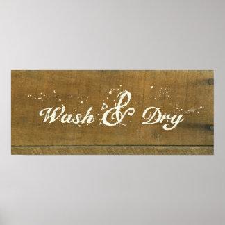 El vintage seco del lavado del lavadero inspiró la póster
