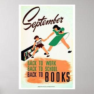 El vintage septiembre de nuevo al trabajo, escuela poster