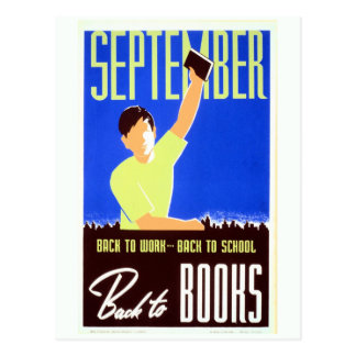 El vintage septiembre de nuevo al trabajo escuela tarjeta postal