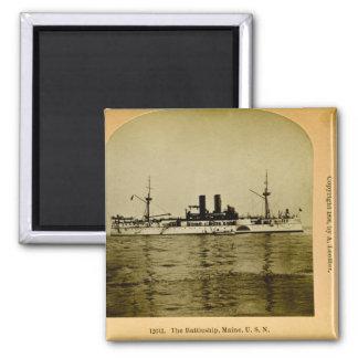 El vintage Stereoview de Maine del acorazado Imán Cuadrado