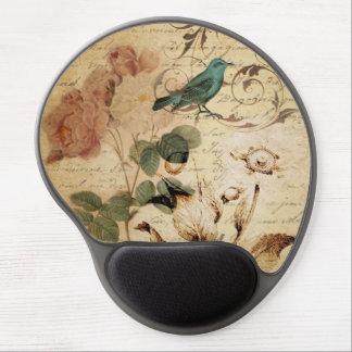 el vintage subió scripts la moda floral del pájaro alfombrillas de raton con gel