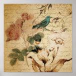 el vintage subió scripts la moda floral del pájaro impresiones